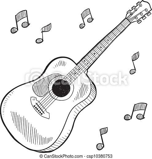 clipart vektor von gitarre akustisch skizze  gekritzel