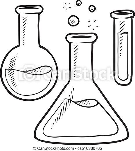 Vector Of Science Lab Equipment Sketch Doodle Style