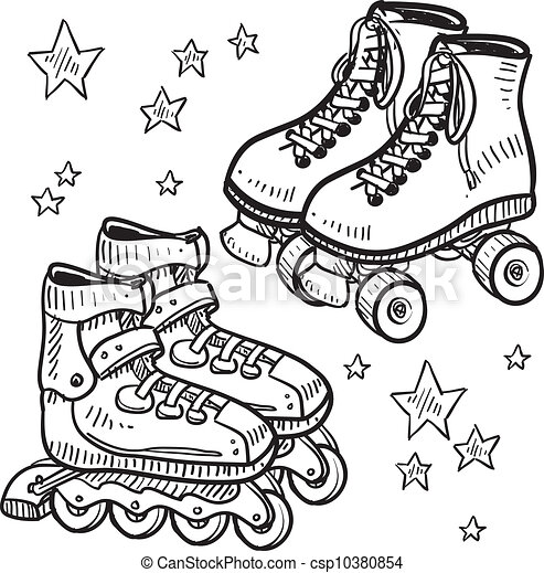 clipart vector of rollerskates and rollerblade sketch skate clip art cut out skate clip art free