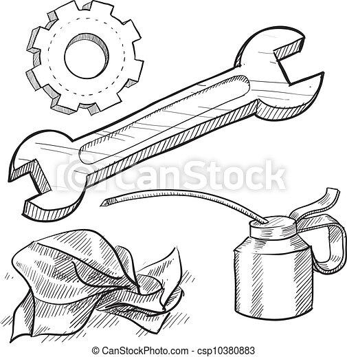 Mechanic objects sketch - csp10380883
