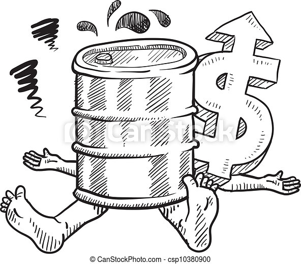Vector Clipart of Crushed by oil prices sketch - Doodle style oil ...