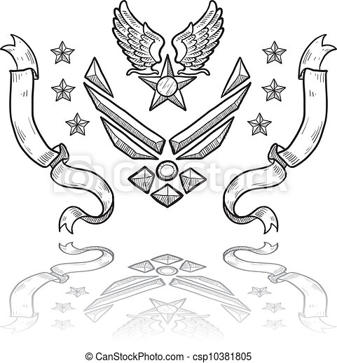 Vector Clip Art of US Navy military insignia - Doodle style ...