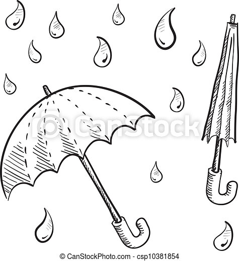 Raindrop Line Drawing Umbrellas And Rain Drop