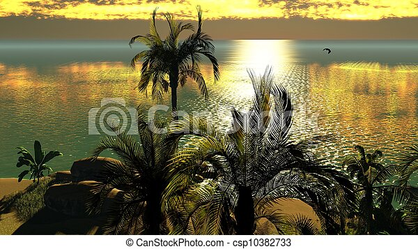 Hawaiian sunset in tropical paradise - csp10382733