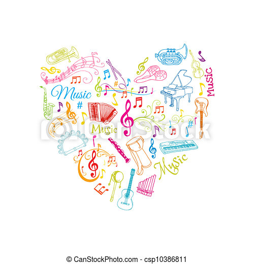 Musical Notes and Instruments Illustration - in vector - csp10386811