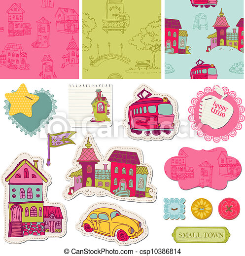Little Town Scrap - for scrapbooking and design - in vector - csp10386814