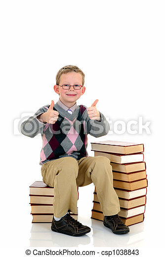 Young boy with encyclopedia - csp1038843