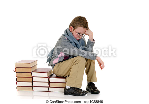 Young boy with encyclopedia - csp1038846