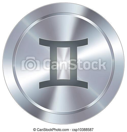 Gemini zodiac on industrial button - csp10388587