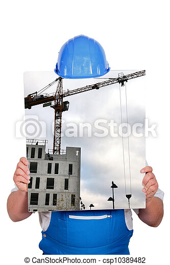 blue collar hiding behind picture of construction site with crane