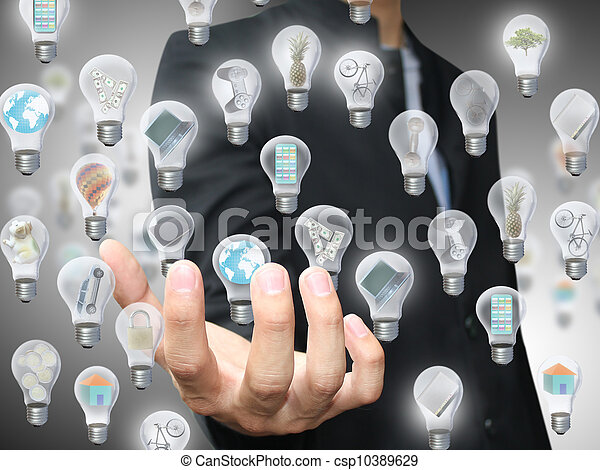 Man holding light bulb object - csp10389629