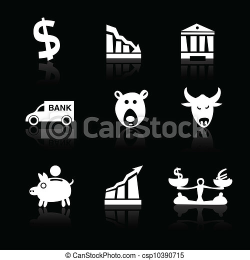 Banking icons hand drawn part 1 white on black - csp10390715