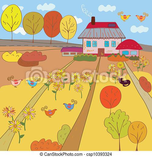 Autumn Landscape Drawing Autumn Landscape With Farm