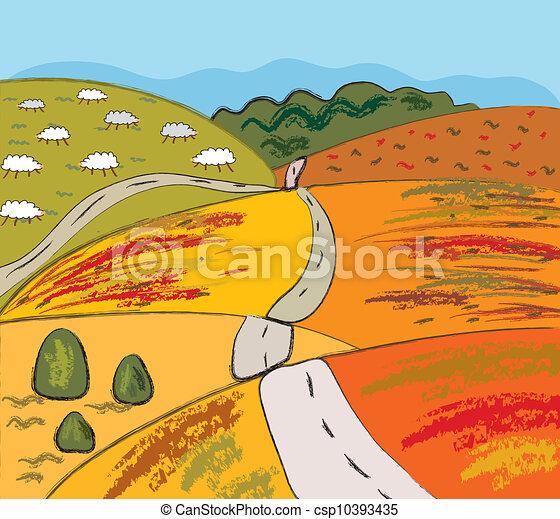 Autumn Landscape Drawing Autumn Rural Landscape With
