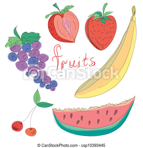 Set of hand drawn fruits - csp10393445