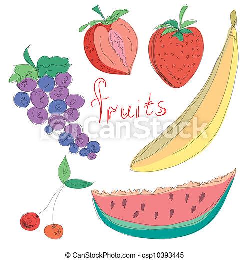 Set of hand drawn fruits - csp10393445