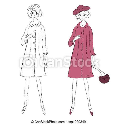 Illustration de manteau croquis mode hiver girl mode - Dessin de manteau ...