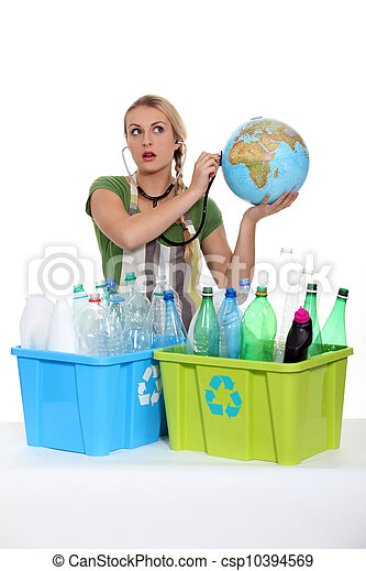 portrait of a woman with plastic bottles - csp10394569
