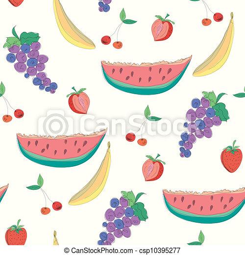 Fruits seamless pattern vector - csp10395277