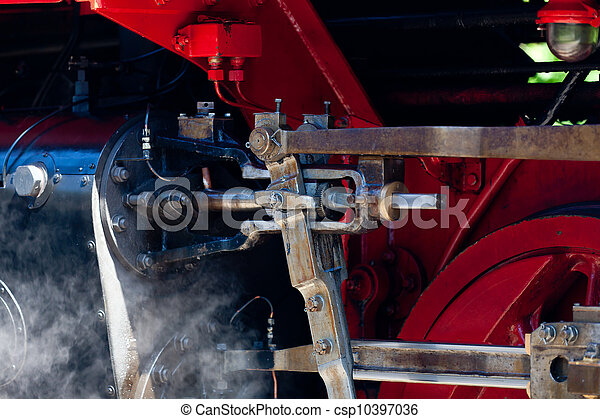Detail detailed photo of a historic steam locomotive in Baltic Sea resort Kuehlungsborn - csp10397036