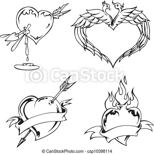 Imagenes de corazones de blanco y negro - Imagui