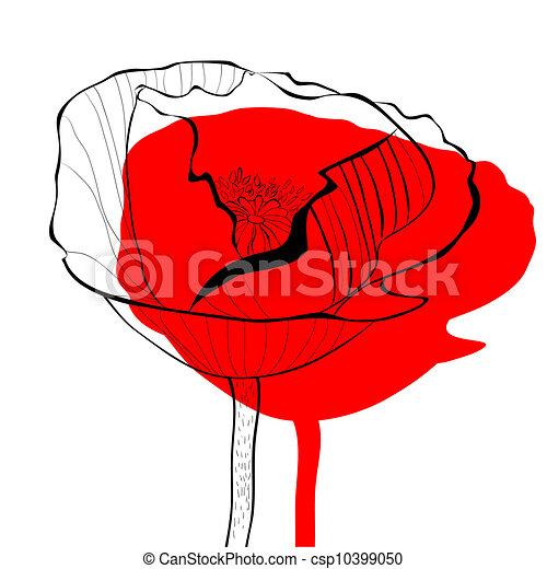 Stylized Poppy flowers illustration - csp10399050