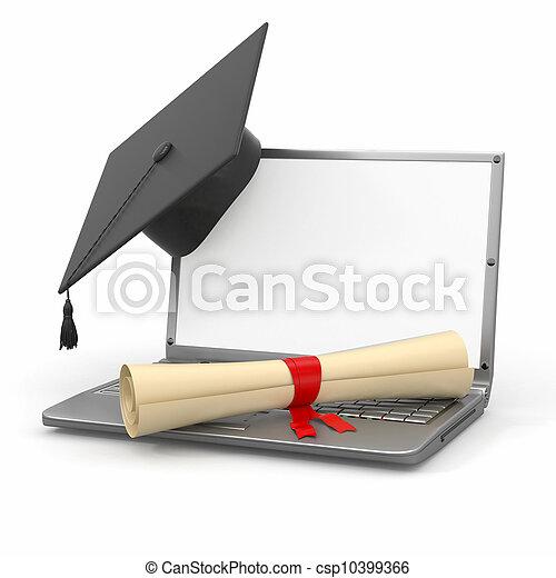 E-learning graduation. Laptop, diploma and mortar board - csp10399366