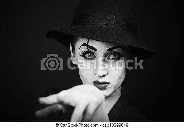 Woman mime with theatrical makeup - stock image, images, royalty free
