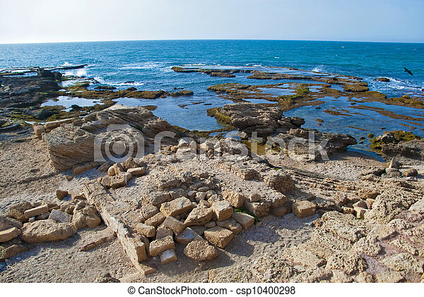 Detail of ancient city Caesarea from Israel - csp10400298