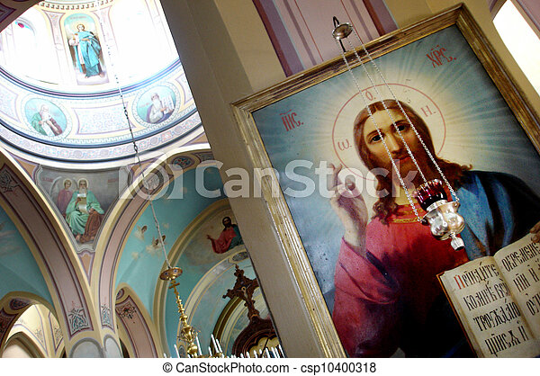 The interior of the Holy Trinity church in the Russian Compound Jerusalem, Israel. - csp10400318