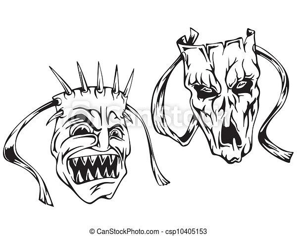 Vecteur clipart de horreur masques ensemble de noir - Dessin horreur ...