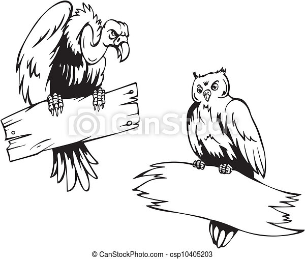 Vulture Line Drawing Vector Clipart of Vult...
