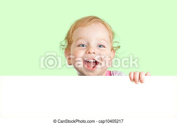 容易に, direction., banner., 空白の 表面, の後ろ, 緑, 広告, 背景, 子供, 拡張できる, 旗, (どれ・何・誰)も, 幸せ - csp10405217