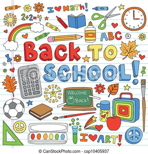Back to School Doodles Vector Set - csp10405937
