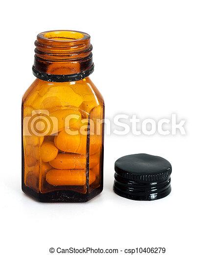 Authentic, old unused pills, pharmaceuticals over white - csp10406279