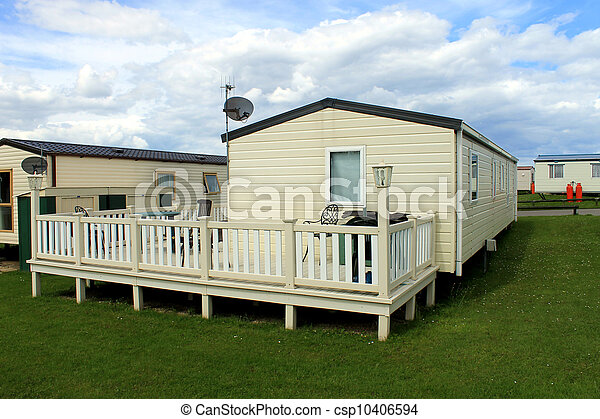 Mobile caravans or trailers in modern holiday park - csp10406594