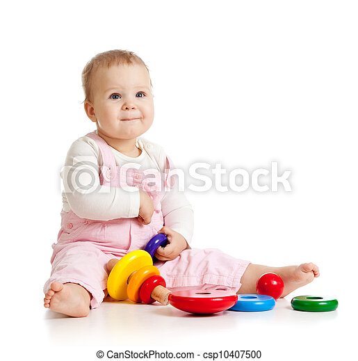 pretty baby or kid playing with color toy - csp10407500