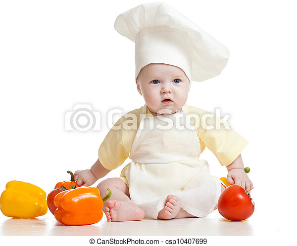 cute baby boy chef with healthy  food vegetables, isolated on white - csp10407699