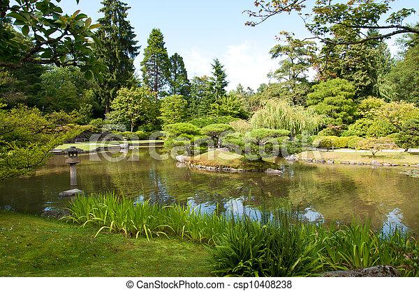Japanese garden, pond, lantern - csp10408238
