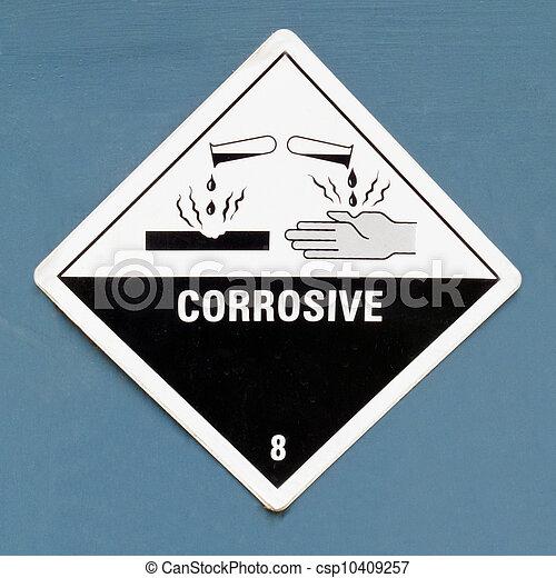 azul, Símbolo, perigo, sinal, corrosivo, aviso - csp10409257
