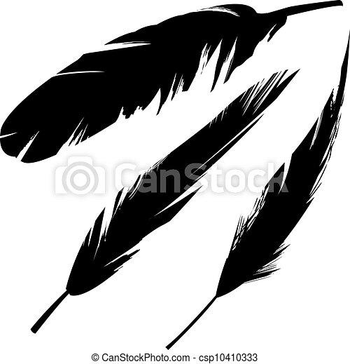 Grunge bird feathers silhouette - csp10410333