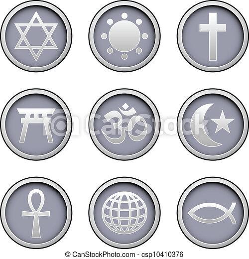 World religions icons set - csp10410376