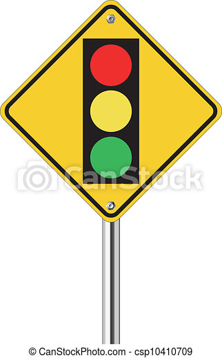 Vector Clipart of traffic light over yellow sign on white ...