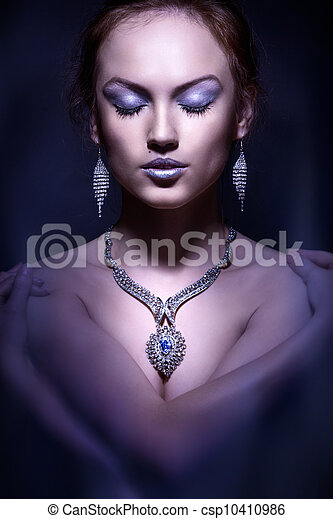 Fashion portrait of  elegant woman. Studio photo - csp10410986
