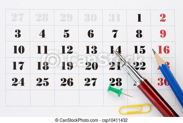 school accessories on calendar
