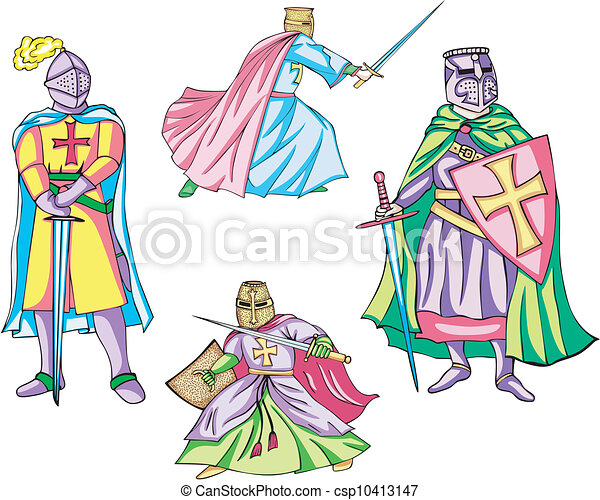 Vector Illustration of crusaders team design with mascot for ...