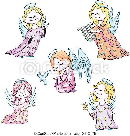 Vectors Illustration of Kids angels - Funny kids angels ...