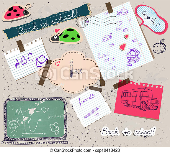scrapbooking set with school elements. - csp10413423