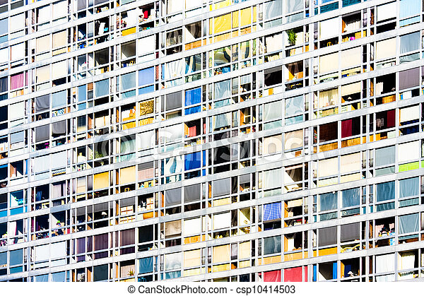 Residential houses in Paris, France. - csp10414503