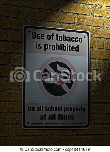 use of tabacco prohibited in all schools as message on sigbboard on brick wall with power lighting, health details - csp10414679